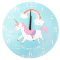 Gorgeous Blue Unicorn & Rainbow Wooden Wall Clock